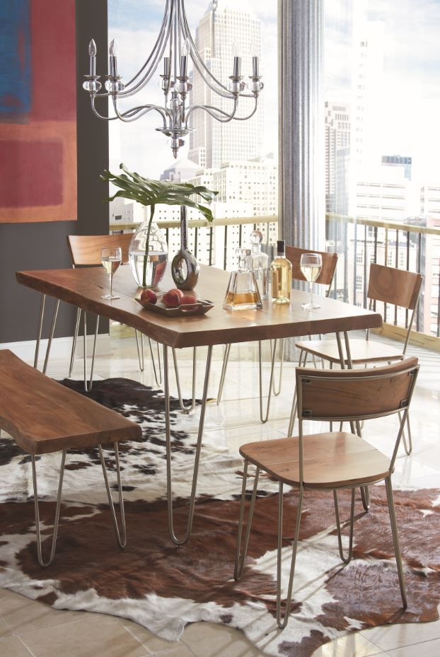 This solid Acacia top with live-edge and dynamic wood grain creates a look for your dining area that is as natural as it is beautiful.