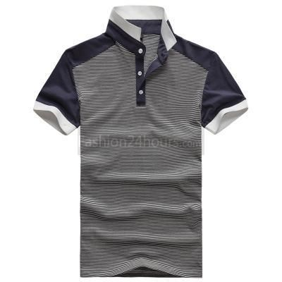 $14.99 Short Sleeve Classic Stand Collar Pinstripe Polo T-Shirt