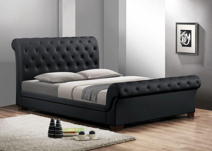 Leighlin Black Modern Sleigh Bed with Upholstered Headboard - Full Size