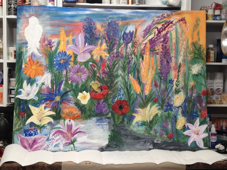 The very 1st collaborative, intuitive painting that mother daughter team (Pat Kammer and Judy Wilson) created. We let music be our inspiration. It was a totally inspiring experience. Jan. 2016
