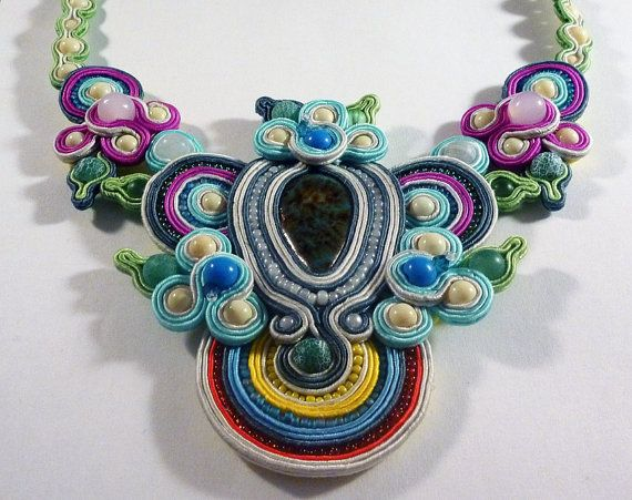 Soutache necklace  Kitari by IzabelaCichocka on Etsy