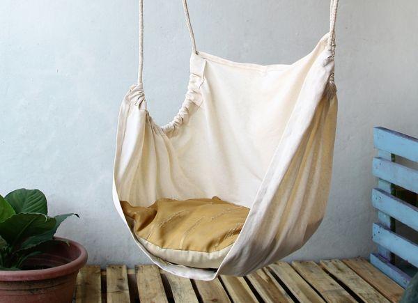 hängesessel hängesitz weißer stoff seile