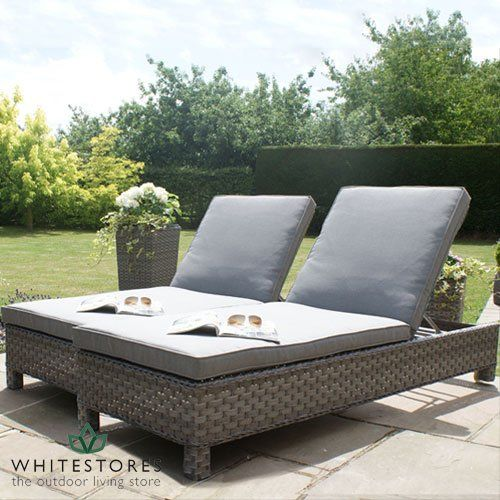 All Weather Victoria Outdoor Rattan Garden Furniture Sun Lounger Set   Grey  Price Β£429