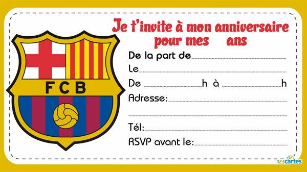 5 invitations anniversaire de clubs de foot à imprimer. Les 5 clubs sont Fc Barcelone, Real Madrid RM, Paris Saint-germain PSG, Olympique Marseille OM et M