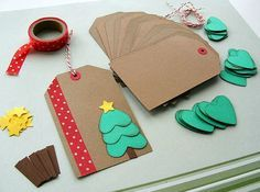 DIY Holiday Christmas Gift Tag Kit - Makes 12 (BumpOfKnowledge @ Etsy, $7), good idea, use CTMH paper and items