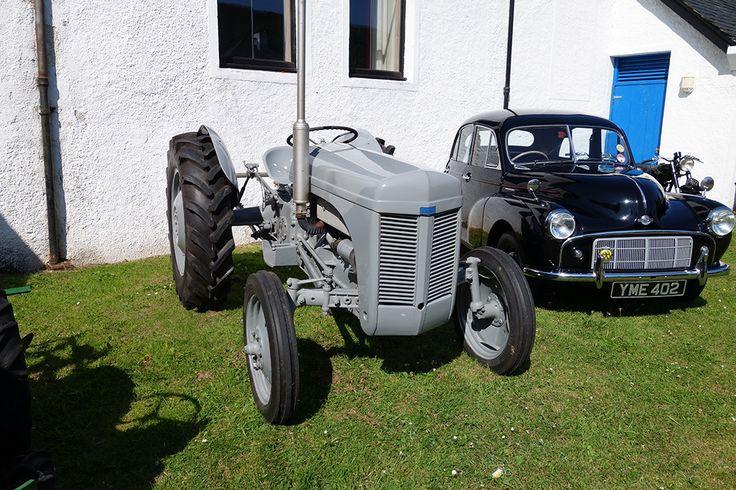grey Ferguson Tractor beside Morris Minor car, early 1950s