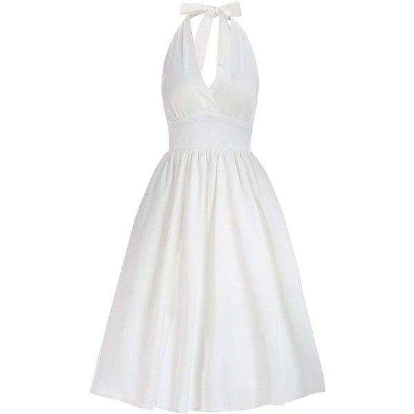 'Marilyn' White Occasion Swing Dress ($50) ❤ liked on Polyvore featuring dresses, white, v neck halter top, trapeze dress, white v neck dress, plunging v neck dress and halter dress