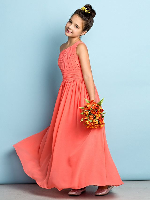 A line one shoulder ankle length chiffon junior bridesmaid for Dresses for juniors for weddings