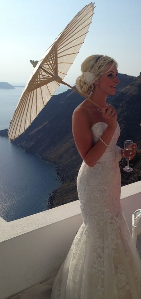 Santorini wedding, lace soft fishtail Maggie Sottero dress, Ascher, with parasol