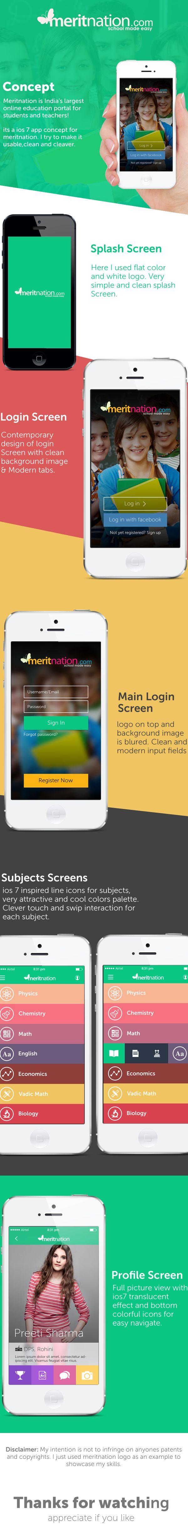 Meritnation ios App Redesing (COPY) by Manoj Bhadana, via Behance