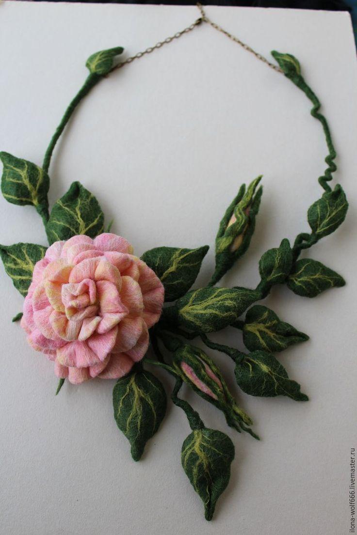 Создаем шикарное колье с розой из войлока - Ярмарка Мастеров - ручная работа, handmade