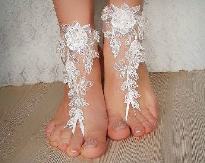 ivoor strand bruiloft barefoot sandals