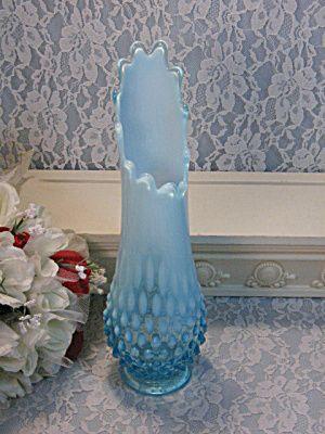Vintage Fenton Art Glass Blue Opalescent Hobnail Swung Vase