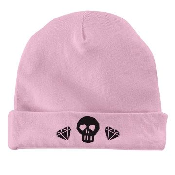 Cute Baby Diva Skull Beanie  | Cute Baby Skull Diva Hearts Bib Also available in different colors