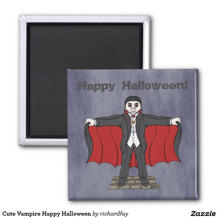 Cute Vampire Happy Halloween Magnet.  #zazzle #magnet #cute_vampire #cartoon_vampire #cute_Dracula #cartoon_Dracula #vampire #Dracula #Happy_Halloween