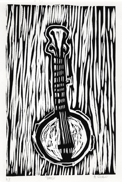 Linoleum print- bringing art and music together with subject matter