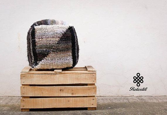 THE CUBE - Retextil pouffe - Handmade Knitted Pouf, Ottoman, Footstool, Fabric Pouf - Hand Woven Recycled High Quality Decoration #home #living #decor #decoration #decorative #pillow #pillows #pouffe #pouf #cushion #ecodesign #slow #slowdesin #handmade #recycle #diy #recycled #fabric #textile #retextil #eco #ecofriendly #sustainable #grey #black #white #minimal