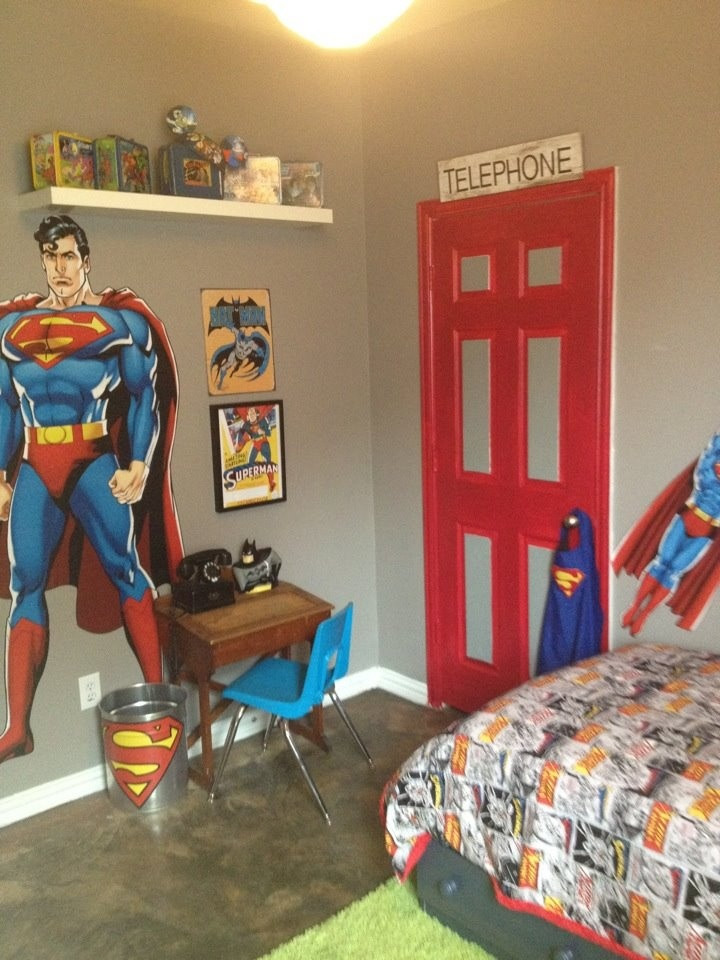 Sawyer's Superman Room - 3.5yrs old  By Courtney @ Grass Roots Eco Cleaners + Market / Frisco, Tx