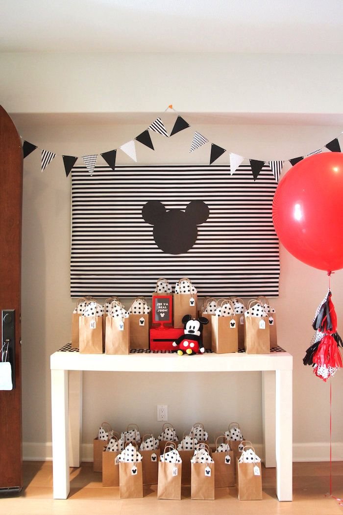 Mickey Mouse Favor Table from a Classic Mickey Mouse Birthday Party on Kara's Party Ideas | KarasPartyIdeas.com (18)