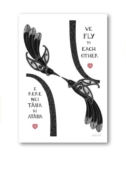 """""""We Fly To Each Other""""  New Zealand Art Print, open edition."""