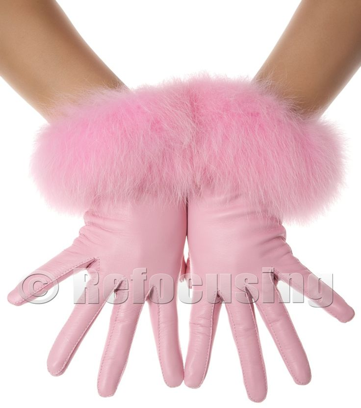 Pink Fur Leather Gloves