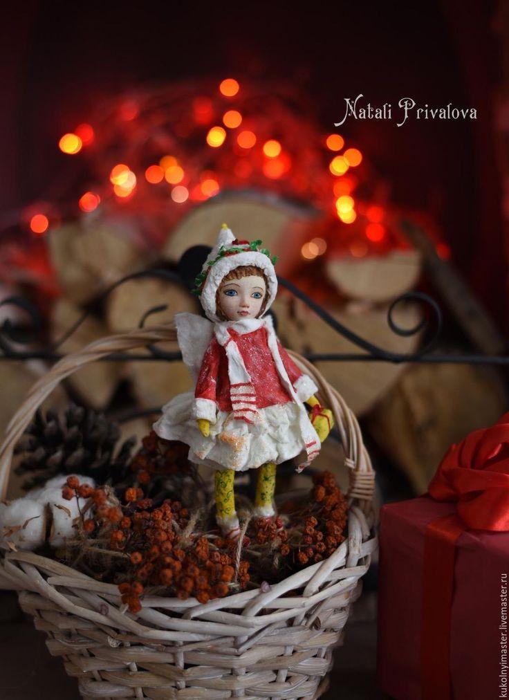 Купить Ватная елочная игрушка Зимний Эльф - комбинированный, ватная кукла, ватная игрушка