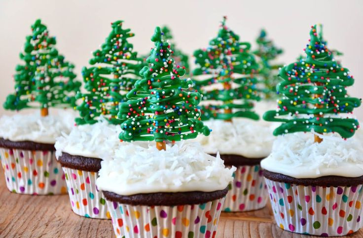 Celebrate the holiday season with a quick and easy recipe for chocolate cupcakes with edible Christmas tree toppers!