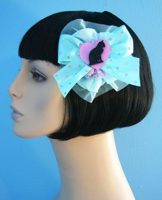 Precious Kitty Blue Hair Bow Clip Accessory by by CutieDynamite, $25.00