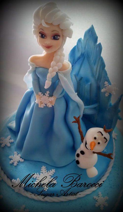 Torta di Frozen con decorazioni in pasta di zucchero n.36