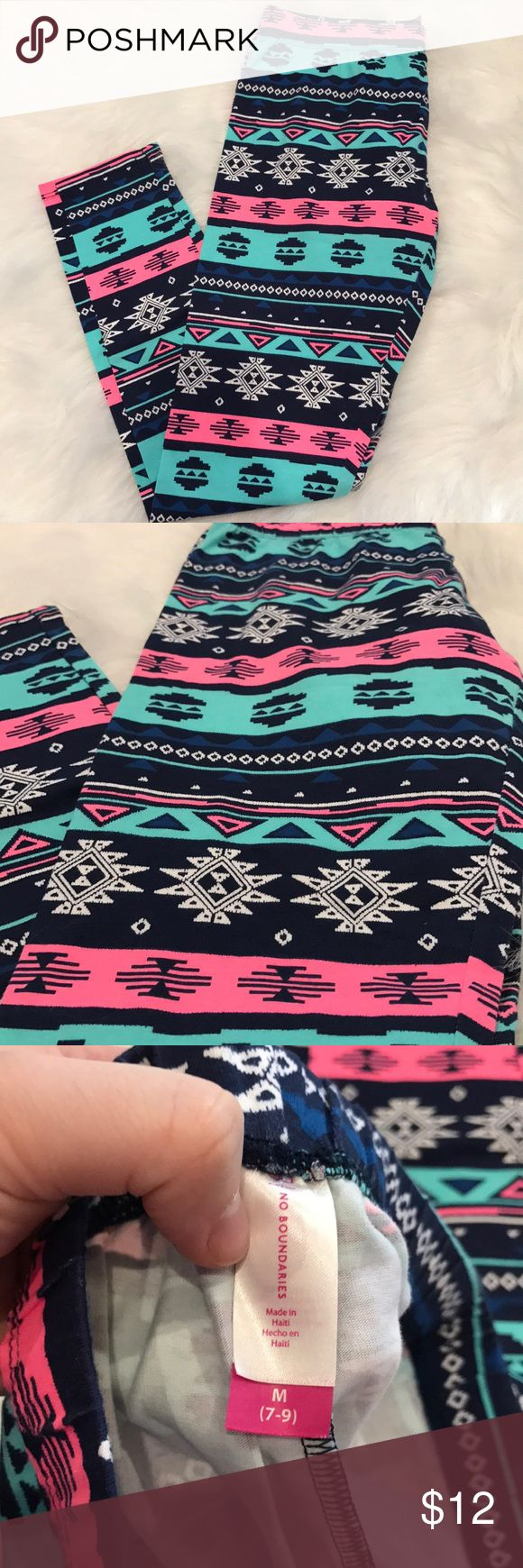 Tribal print leggings Never worn! Beautiful bright colored tribal print leggings❤️💝💜 size M (7-9) No Boundaries Pants Leggings