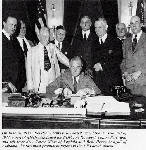 Emergency Banking Act and FDIC. This is a picture of President Roosevelt signing the FDIC into act. The institution was put together because of poor economic conditions in the United States