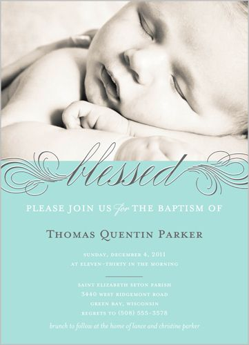 Little Blessed Blue Baptism Invitation