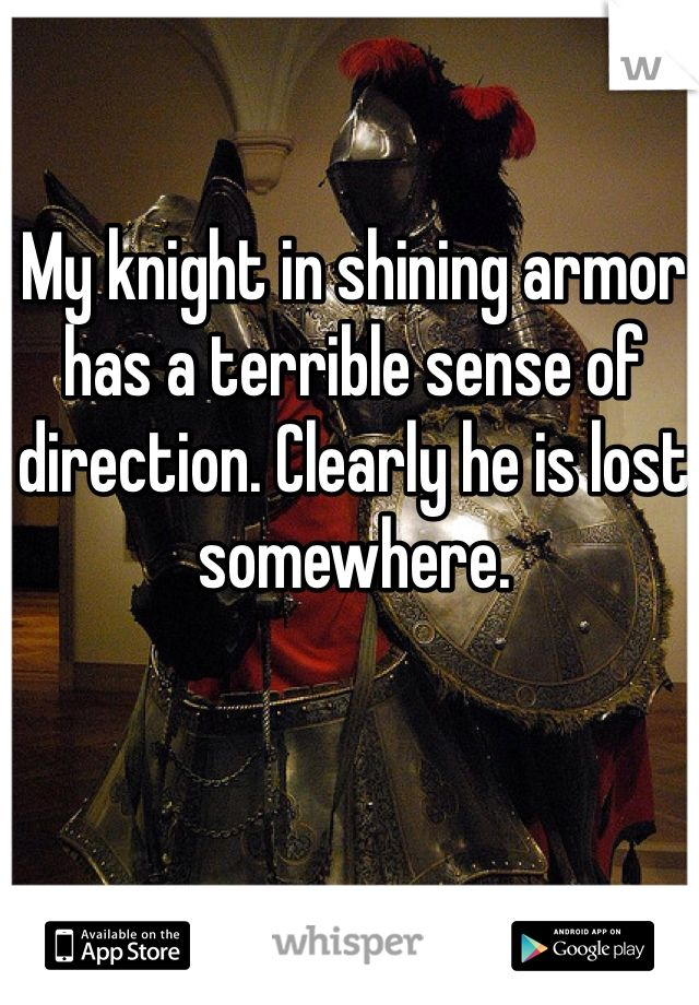My knight in shining armor has a terrible sense of direction. Clearly he is lost somewhere.: