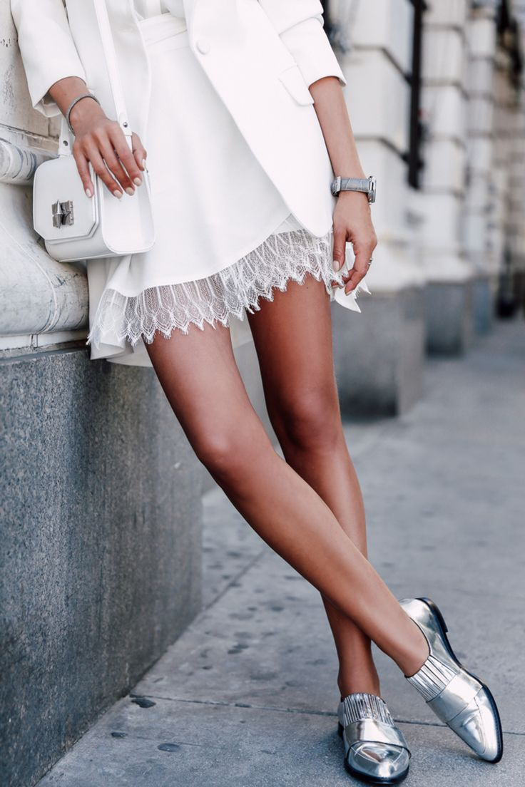This Is The Detail Your Summer Wardrobe Might Be Missing - Cute Chic Sexy Summer Street Style White Sheer Lace Under Layered White Mini Dress And Bright Silver Metallic Slip On Brogues