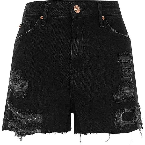 River Island Black high waisted frayed denim shorts (£30) ❤ liked on Polyvore featuring shorts, river island, high waisted zipper shorts, high-rise shorts, high-waisted jean shorts and high-waisted shorts