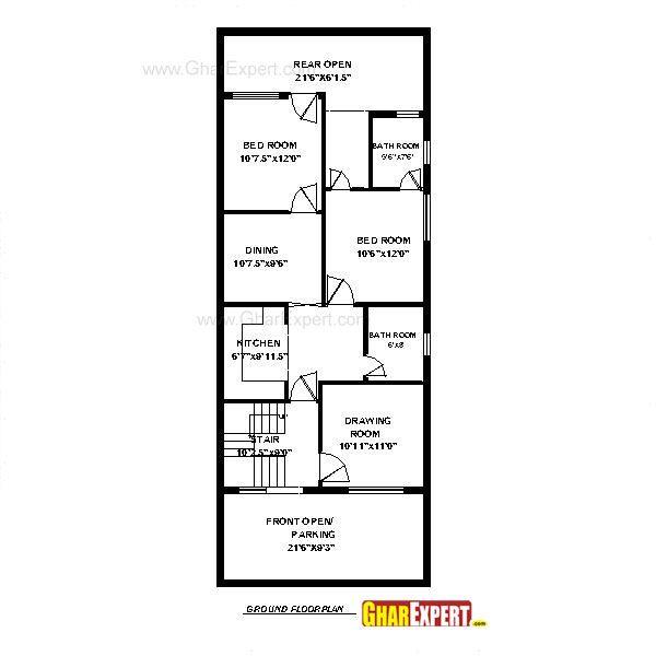 House Plan For 24 Feet By 56 Feet Plot Plot Size 149 Square Yards Gharexpert Com Best House Plans House Plans Town House Plans