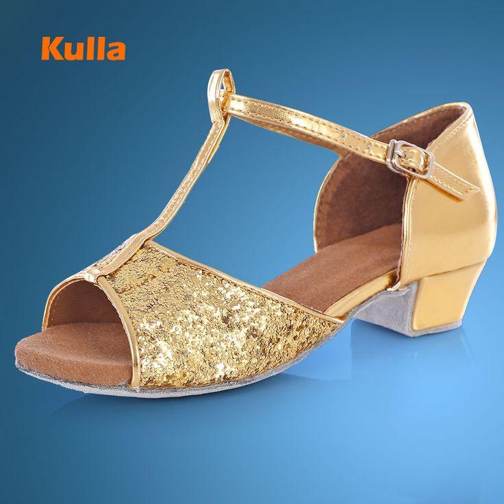 KULLA Ballroom Salsa tango latin dance shoes low heels dancing for kids girls children women ladies free shipping in stock L22