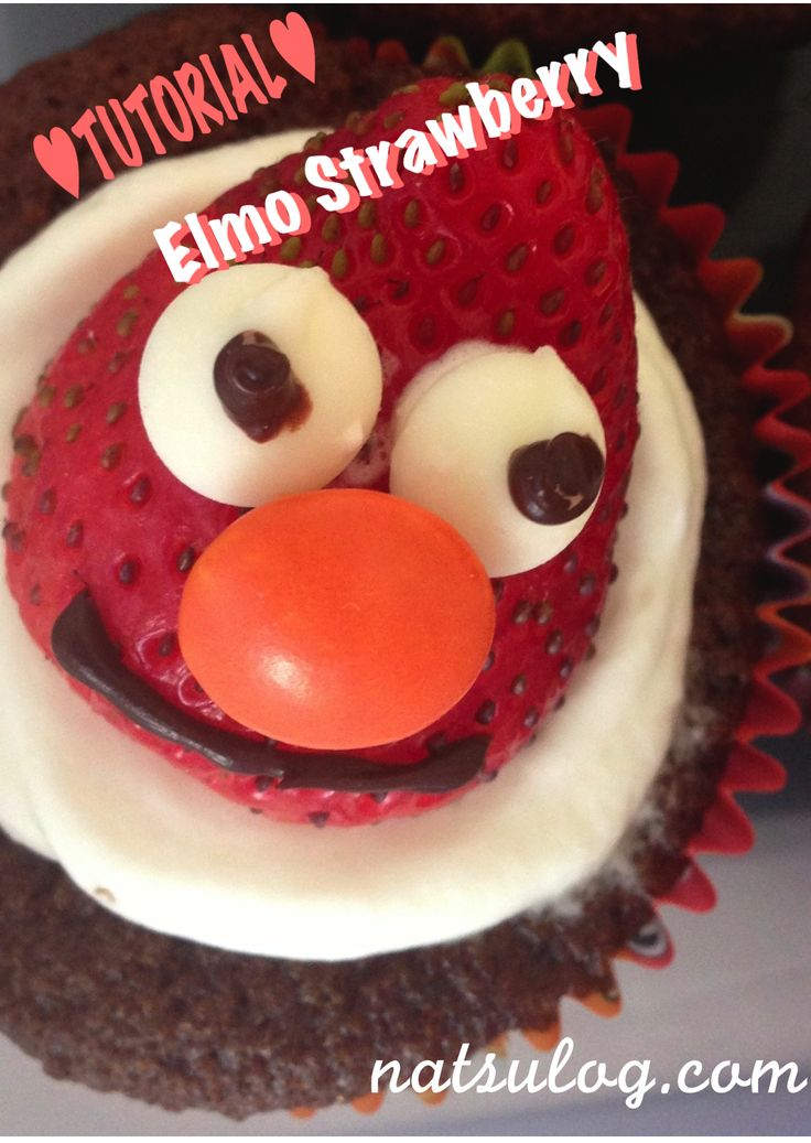 Free Cooking Tutorial - Elmo Strawberry: Decorate your cake with smily Elmo!!!