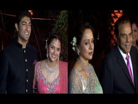 Dharmendra and Hema Malini   AHANA DEOL'S WEDDING RECEPTION.