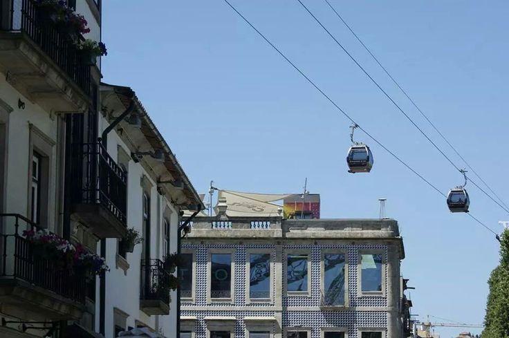 Cable cars over Porto