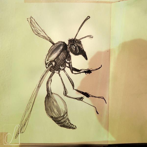 #unabellagiornata 292/365  #inktober2017 giorno 20 Sceliphron curvatum - Con la maturità abbandona gli istinti carnivori e inizia una fase di veganesimo creativo, si nutre solo di nettare e polline mentre crea anfore di fango per accogliere la progenie... #inktober  #inktoberaduntratto #passoasei #insetti  #sketchbook #shadow #wasp
