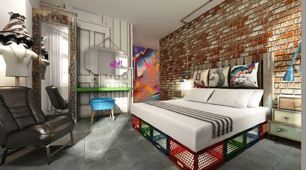 Design Sketch for our HOAX double bedroom suites! Yes the bed stands on crates! oohoo