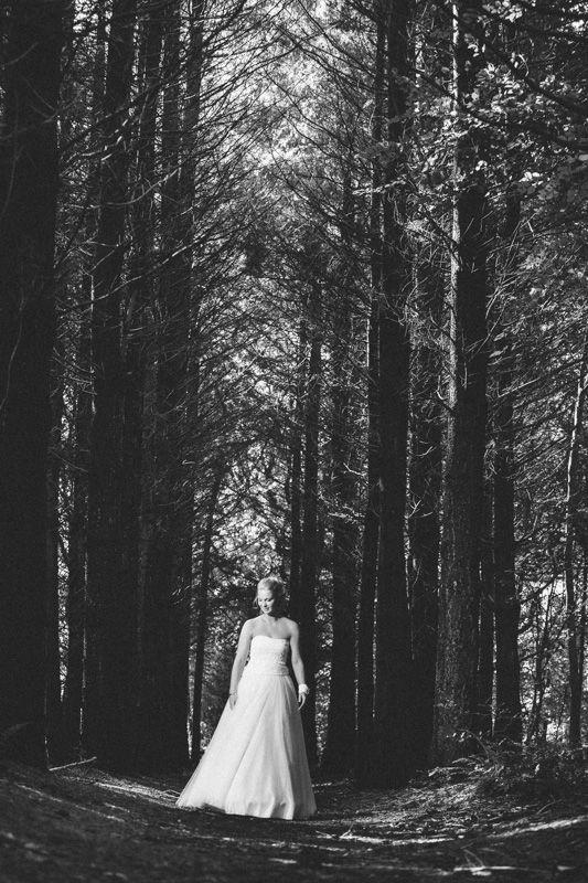 Bride in wood, dress Photo by Sjoerd Banga, © Banganimation