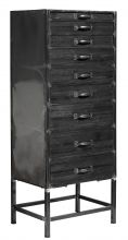 Chest of 9 drawers, black wood/metal | Nordal.eu