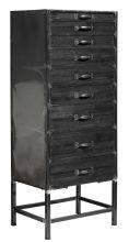 Chest of 9 drawers, black wood/metal