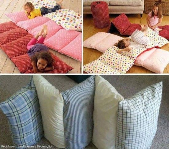 Pillow Bed Mattress Tutorial - sew pillowcases together, insert pillows, instant bed