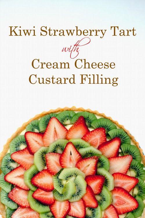 Kiwi Strawberry Tart with Cream Cheese Custard Filling