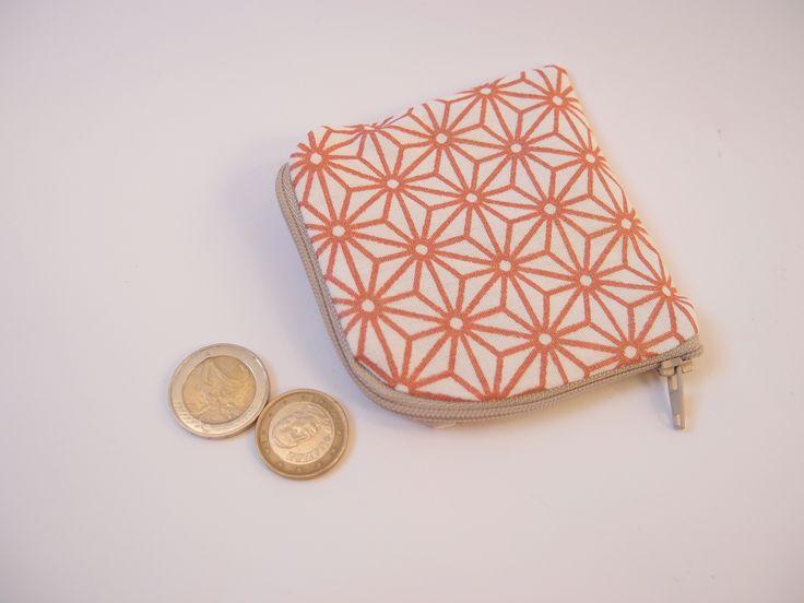 Porte monnaie en tissu à fleurs géométriques rose gold - cuivré : Porte-monnaie, portefeuilles par les-envies-damelie