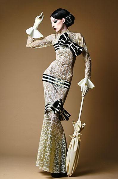 "Vintage goth beauty-- this isnt vintage goth. It's a reimagining of Eliza doolittle's dress in the horse racing scene from my fair lady-- ""move yer arse!!!!!"" My favorite. :)"