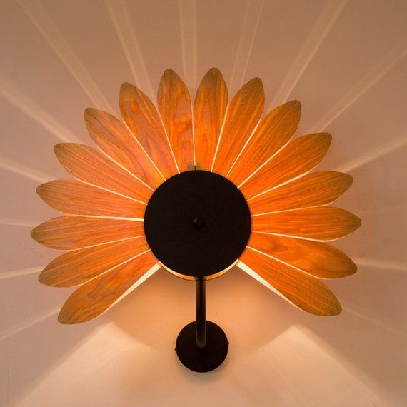 Arturest Creative Sunflower Wall Lamp, Handicraft Wooden Home Decoration Light, Art Wood Wall Lighting – Davide Maio
